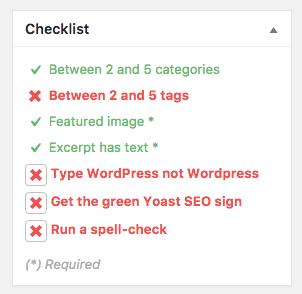 WordPress pre-publishing checklist