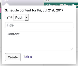 Create new content from PublishPress Calendar in WordPress