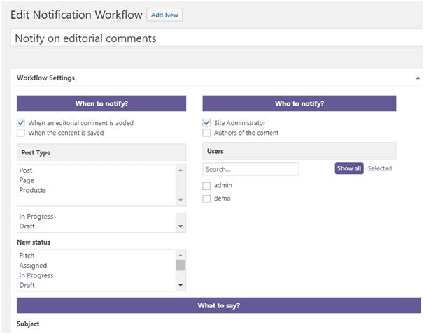 Edit Notification Workflow