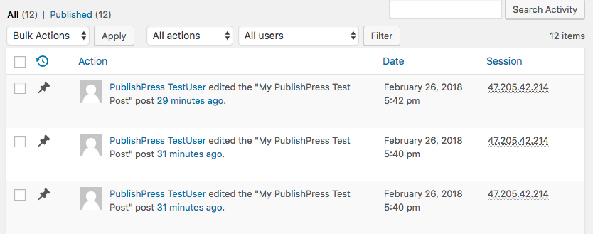 WP User Activity plugin in WordPress