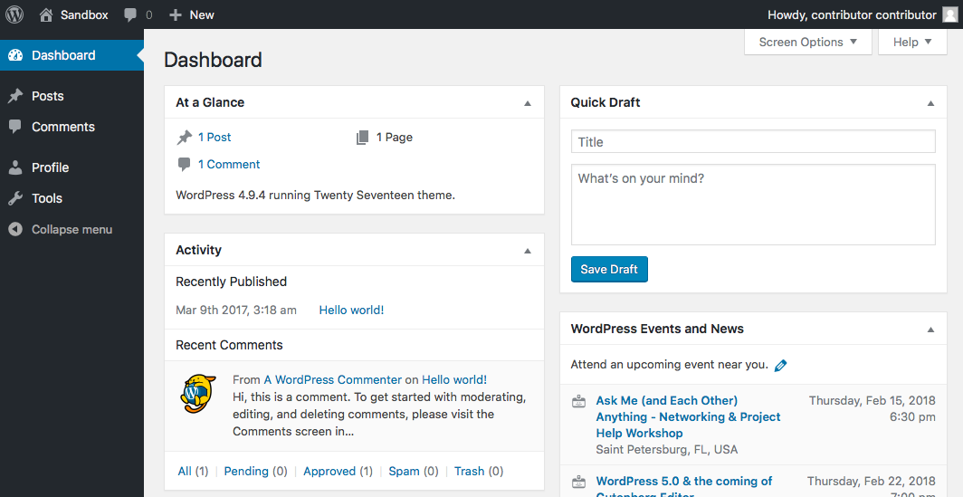 Contributor access to WordPress dashboard