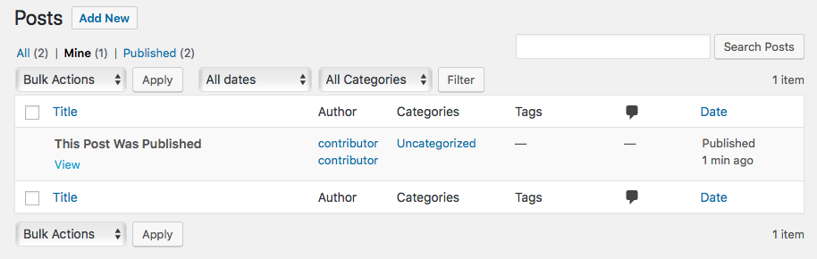 Contributor permissions after post is published