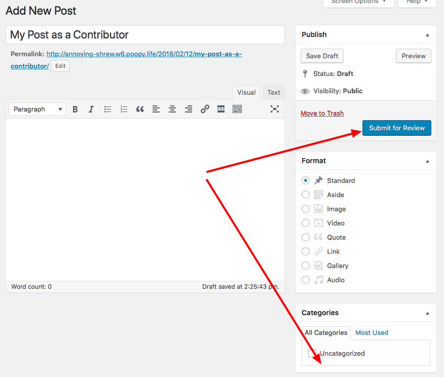 Contributor permissions when editing post