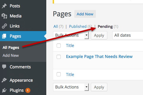 the Pending tab in WordPress