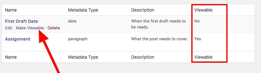 Make a metadata field viewable in PublishPress
