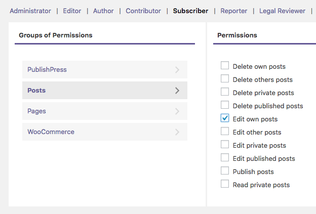 Giving the Edit Posts permission in WordPress