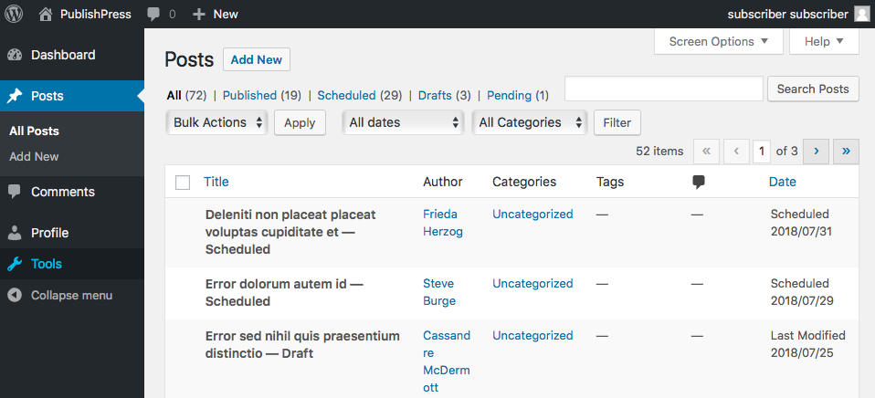 User with the Edit Posts permission in WordPress