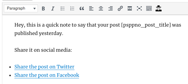 PublishPress notification with social links