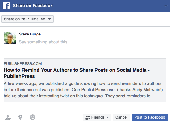 Sharing a WordPress post on Facebook