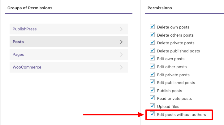Permissions to edit post with no author