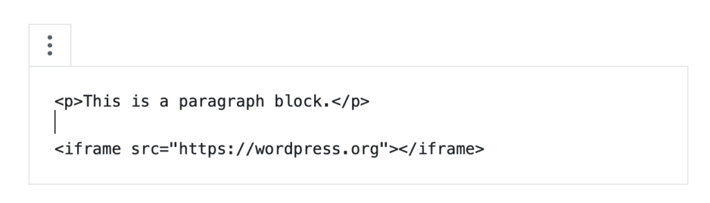 Trying to use iframe in an HTML block in WordPress