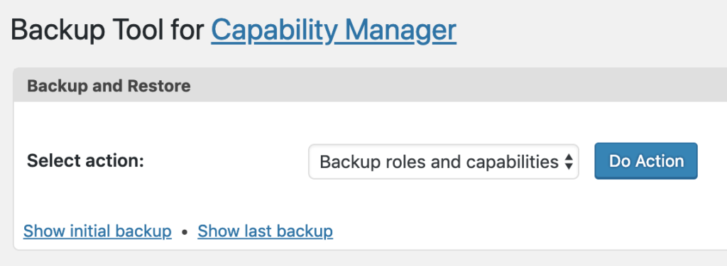 Create a backup for WordPress roles and permissions