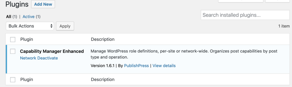 Network activate the Capability Manager Enhanced plugin for a WordPress multisite