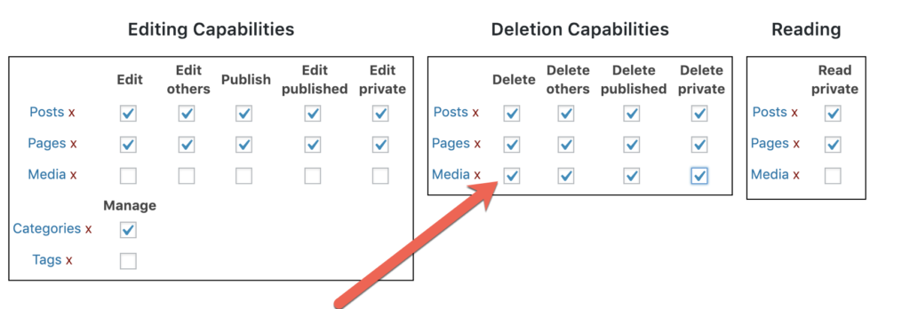 Change delete permissions for the WordPress media library