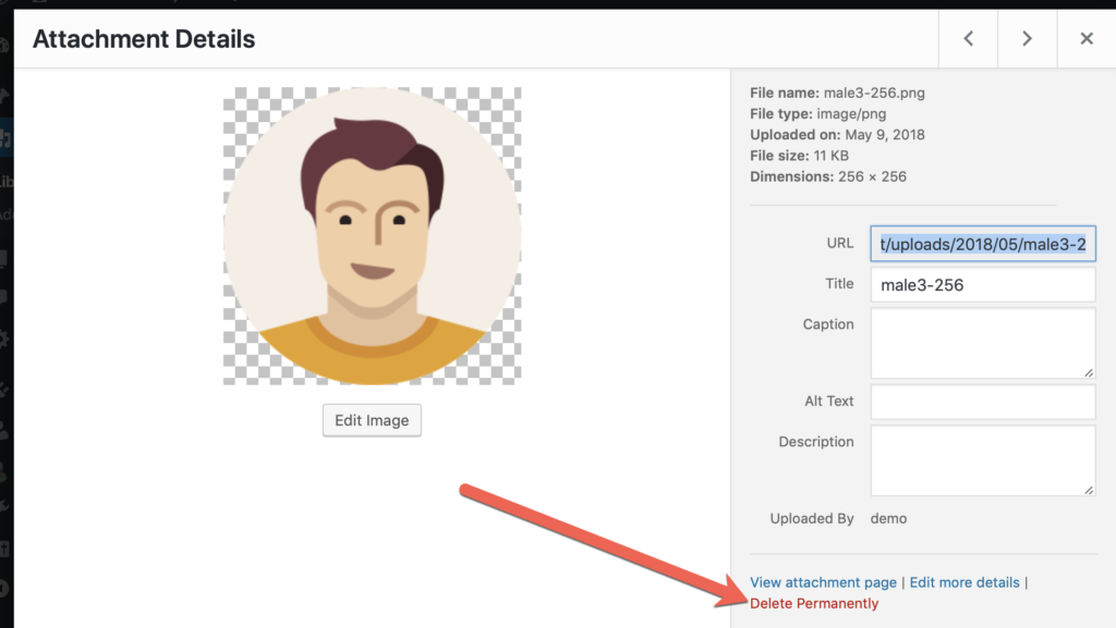 Delete permanently link in the WordPress Media Library