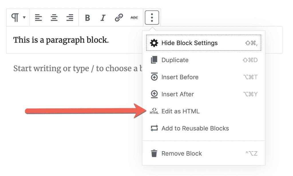 Edit as HTML option for Gutenberg blocks