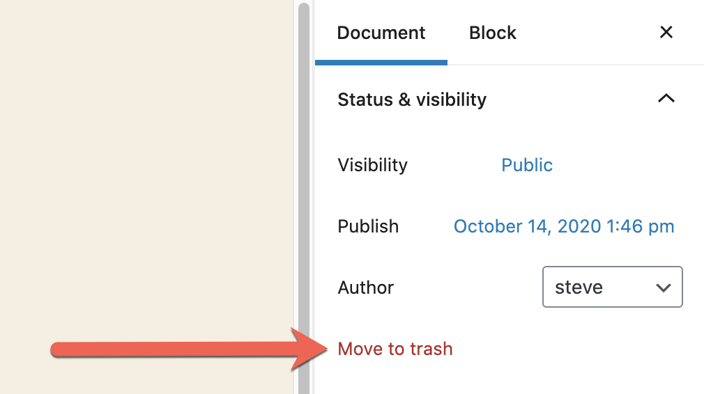 Move Trash Page