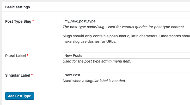 Creating a new WordPress post type