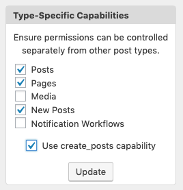 Enabling Permissions for a new WordPress post type