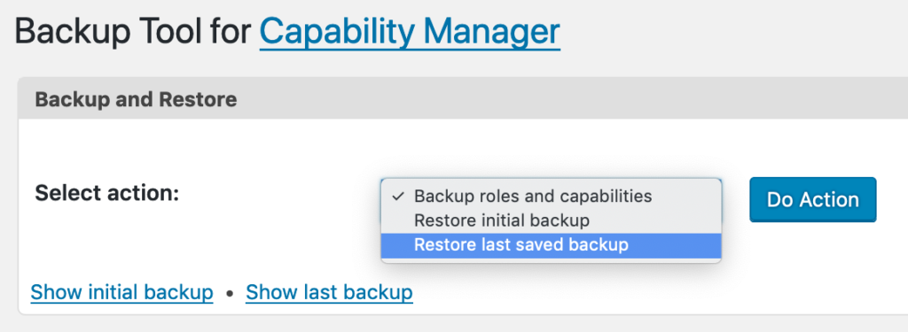 Restore last saved backup for WordPress roles and permissions