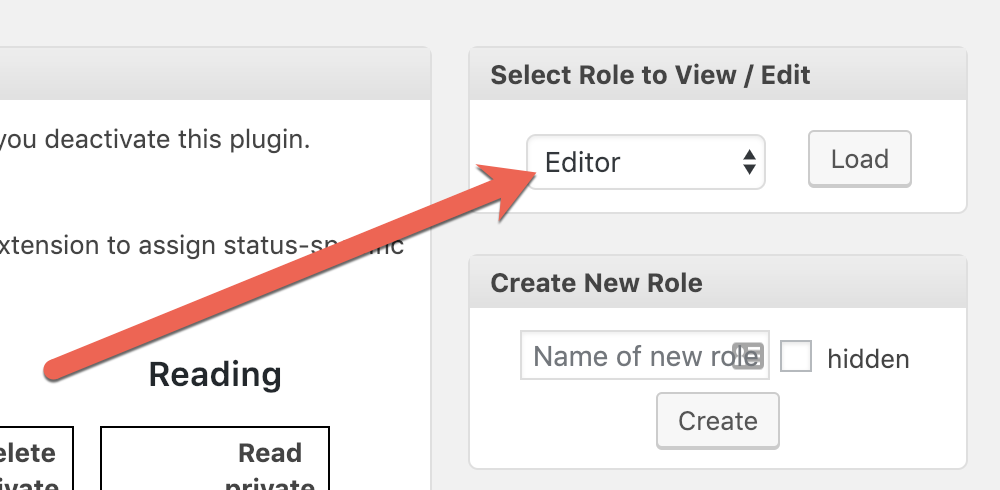 Choose a WordPress role to edit permissions for