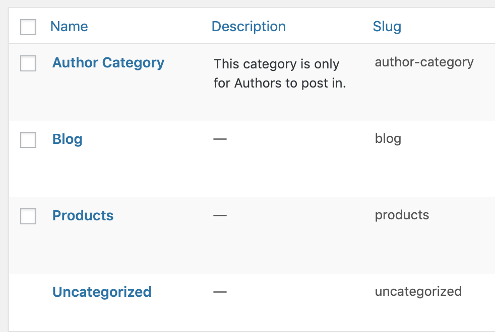 Create a WordPress category for Authors