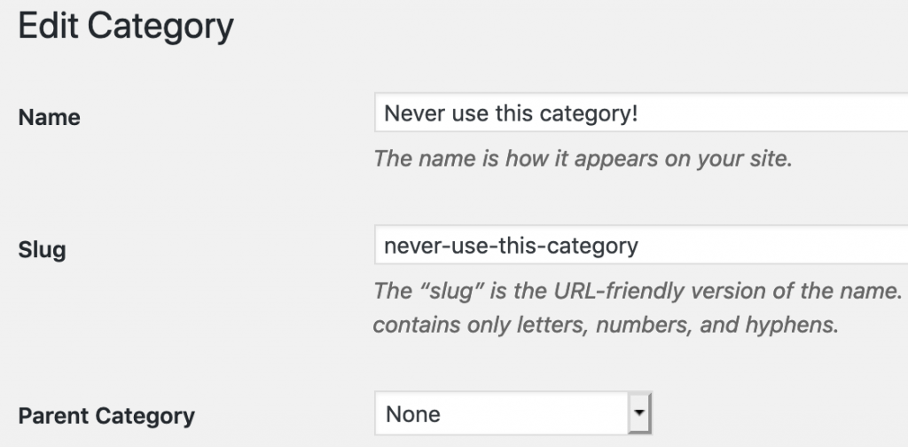 A category that WordPress users can not use