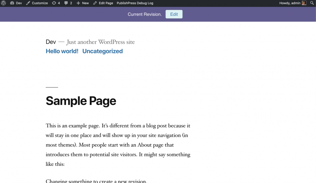 WordPress revision that is live