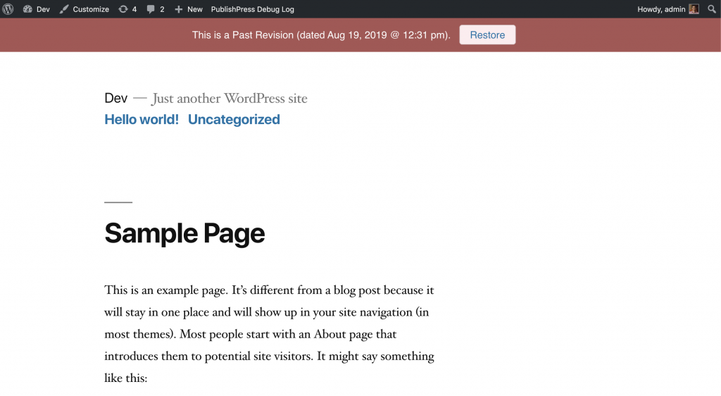 WordPress revision that has been unpublished