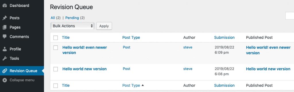 Revisionary plugin - new Revision Queue