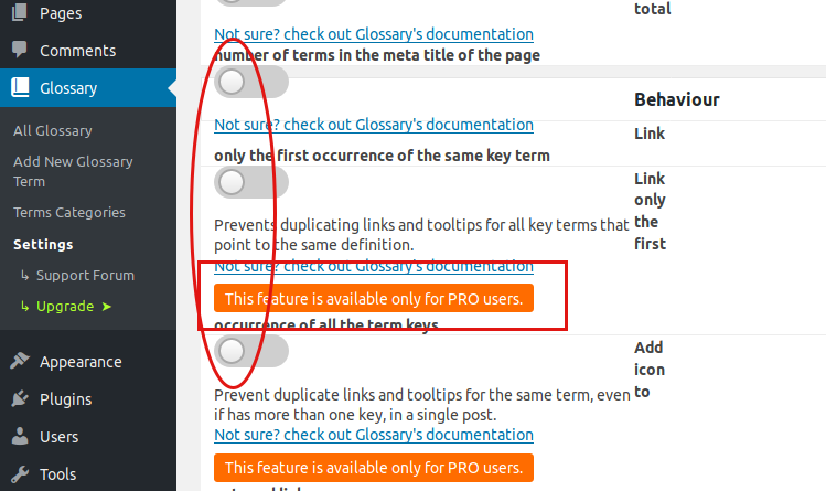 Settings for the Glossary plugin for WordPress posts
