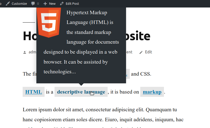 Tooltips in the Glossary plugin for WordPress posts
