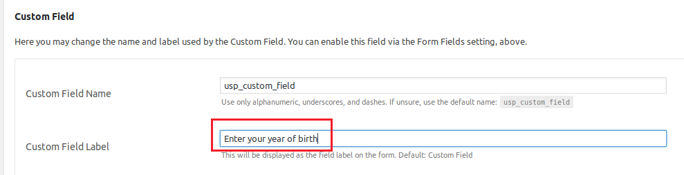 User Submitted Posts custom field options