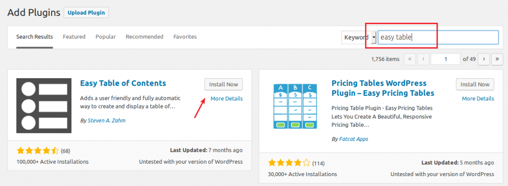 Installing the Easy Table of Contents plugin