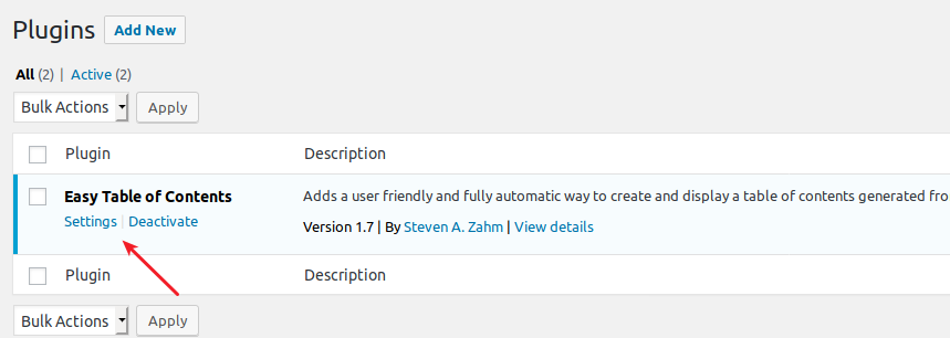 Easy Table of Contents plugin settings