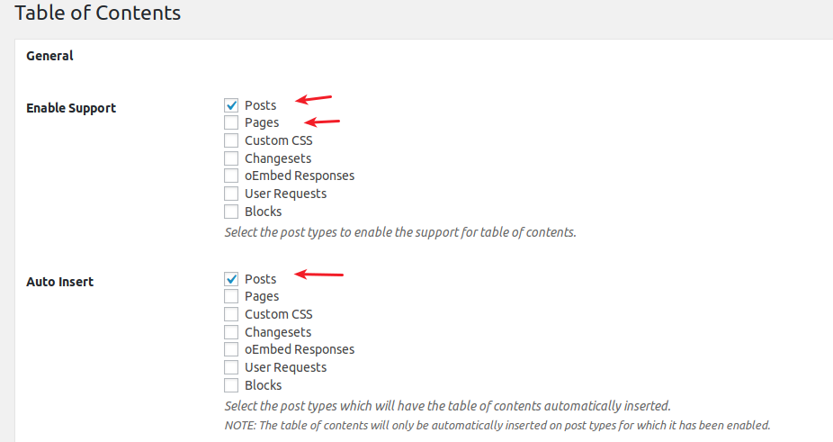 Easy Table of Contents plugin settings for posts and pages