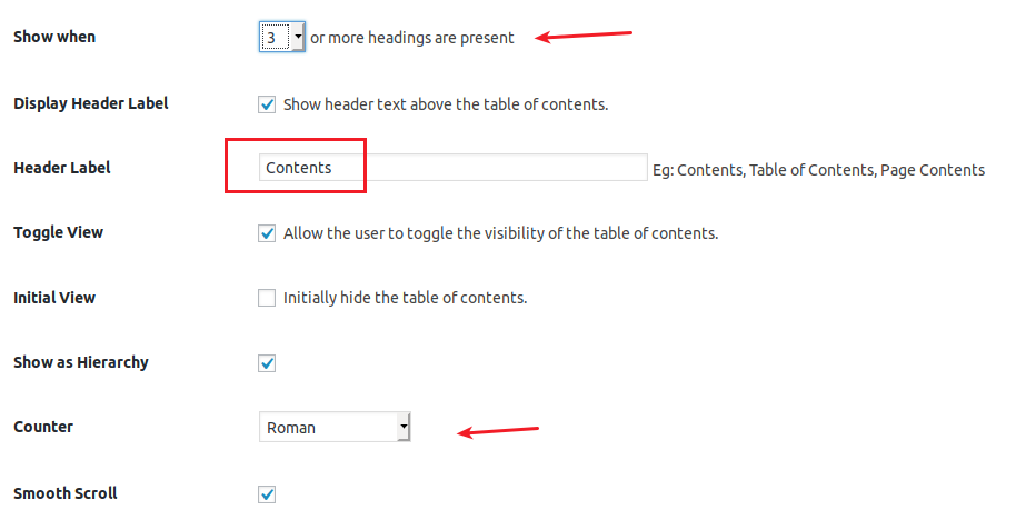 Easy Table of Contents plugin advanced settings