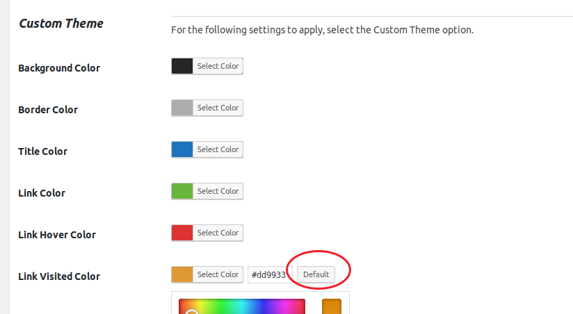 Easy Table of Contents plugin color settings