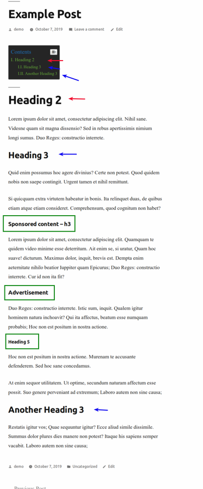 Easy Table of Contents plugin live in a WordPress post