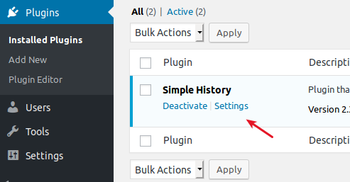 WordPress Simple History plugin settings