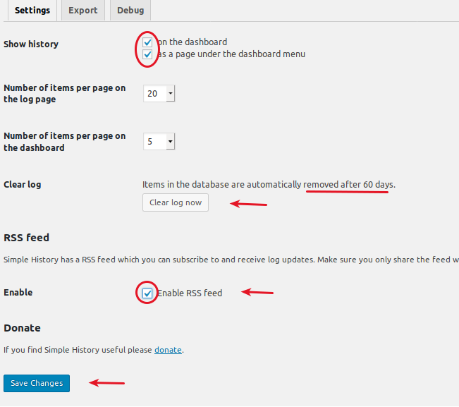 WordPress Simple History plugin settings screen