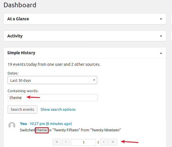 WordPress Simple History plugin dashboard widget