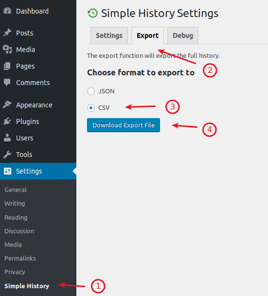 WordPress Simple History plugin data export