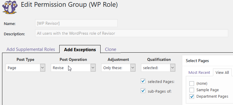 Add Revise Exceptions