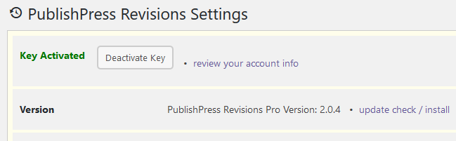 PublishPress Revisions Pro activated