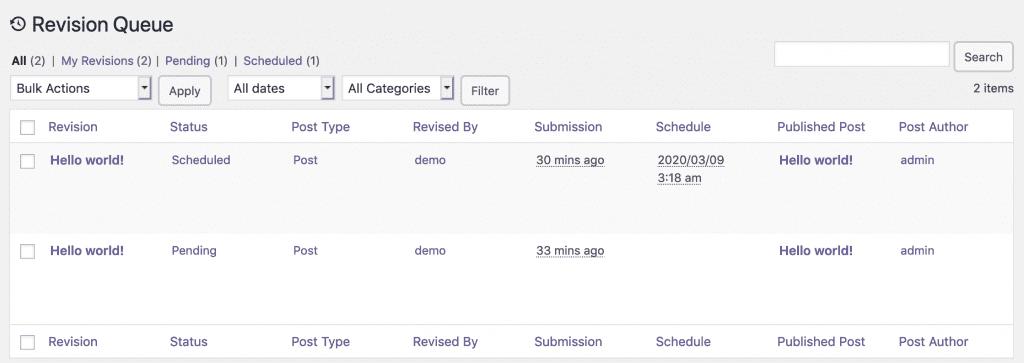 Revisions queue in PublishPress Revisions Pro