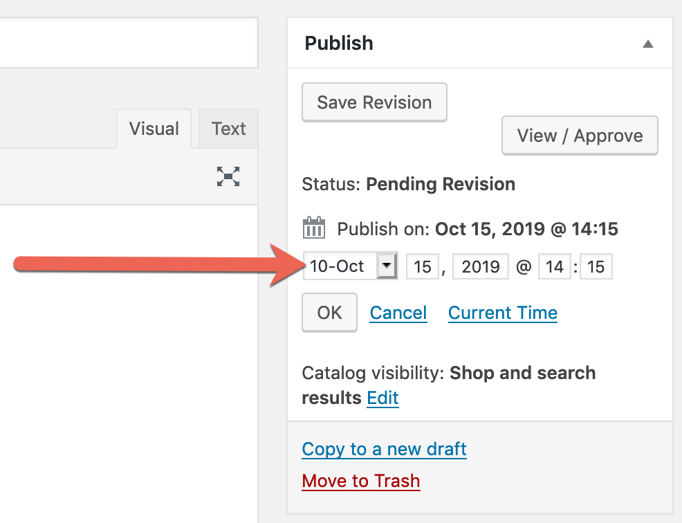 A WooCommerce revision being scheduled in PublishPress Revisions Pro