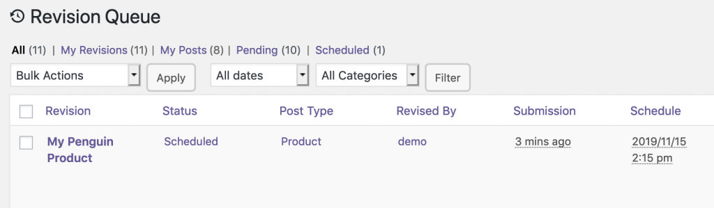 WooCommerce revisions scheduled in PublishPress Revisions Pro