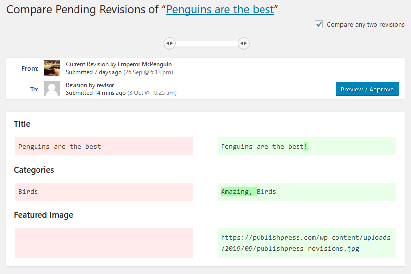 Compare Pending Revisions