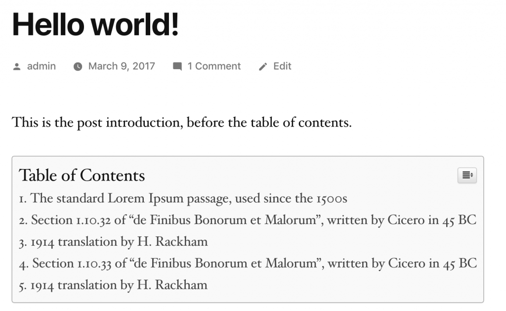 A Table of Contents for a WordPress post